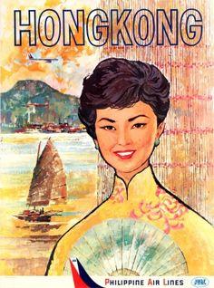 Original Vintage Posters -> Travel Posters -> Hong Kong Philippine Air Lines PAL