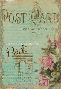ephemera, Paris postcard with the perfect colors Éphémères Vintage, Images Vintage, Photo Vintage, Vintage Paris, Vintage Labels, Vintage Ephemera, Vintage Pictures, Vintage Postcards, French Postcards