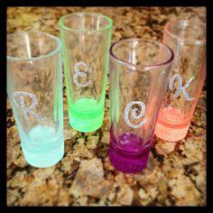 back to college crafting! modge podge  glitter shotglasses