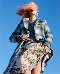 Glamorous Get In Check Coat, @unif Reverb Sweater & Heavy Petal Skirt #nastygal #editorial #fallfashion