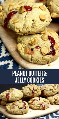 Peanut butter and jelly stuffed cookies are tender, loaded peanut butter cookies that're stuffed with strawberry jam. This easy cookie recipe turns the flavors of the childhood classic into a yummy treat that both kids and adults will love! #recipe #food #foodrecipe Cookie Recipes For Kids, Baking Recipes, Dessert Recipes, Strawberry Cookies, Strawberry Jam, Jelly Desserts, Stuffed Cookies, Jelly Cookies, Smart Cookie