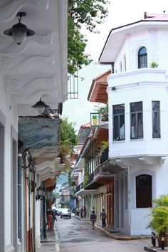 A typical view down a street in Casco Viejo. Beautiful French Colonial architecture distinguishes this area of the city.