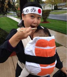 Sushi Chef babywearing Halloween costume idea