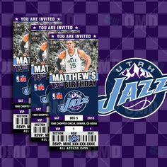 """2.5x6"""" Utah Jazz Sports Party Invitation, NBA Sports Tickets Invites, Jazz Basketball Birthday Theme Party by sportsinvites"""