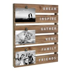 Inspirational Wood Collage Picture Frame with Rustic Metal Clips, Brown Rustic Picture Frames, Collage Picture Frames, Rustic Frames, Picture On Wood Diy, Farmhouse Frames, Farmhouse Chic, Rustic Pictures, Wedding Pictures, Wedding Ideas