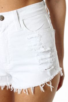 White High Waisted Ripped Shorts