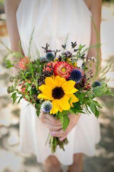 sunflower wildflower wedding bouquets | Wildflower Bridesmaid Bouquet: Sunflower, Dahlia www ...