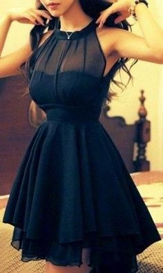 Women's Sexy Mesh Splicing Chiffon Dress -The perfect lbd - little black dress Pretty Dresses, Sexy Dresses, Beautiful Dresses, Summer Dresses, Gorgeous Dress, Dresses 2014, Casual Dresses, Dresses For School Dances, Awesome Dresses