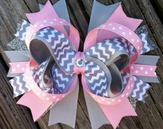 PINK and GRAY Chevron Hair Bow with Grey Chevron Ribbon and Gem Center Infant Toddler Girls Baby Hair Bow Pink Gray Grey