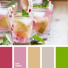 """""""dusty"""" brown, bright green, bright pink, brown, colors of summer, cream pink, crimson, crimson color, delicate pink, gray, lemonade color, lime color, lime green, mint color, peachy-pink, pink."""