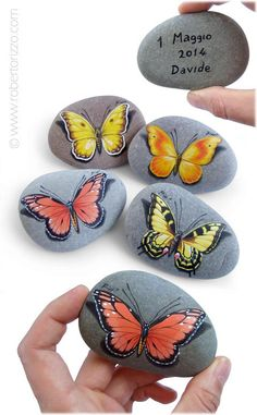 Painted Rock with Yellow Butterfly  Original by RobertoRizzoArt