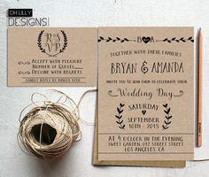 Rustic Wedding Invitation Printable, Kraft paper rustic wedding, Kraft paper rustic, Digita File, RSVP card, Minimalist wedding invite