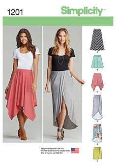 Stay comfortable and stylish with these pull-on knit skirts. Pattern features faux wrap skirt in three lengths. Sew your style with Simplicity pattern 1201.
