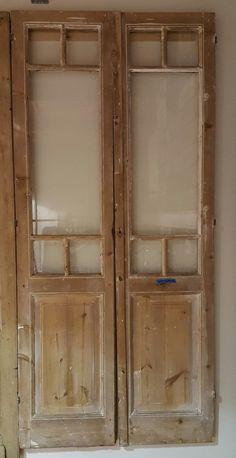 Pair of Pine French Doors with 1 Large and 4 Small Panes of Glass – Antiquities Warehouse Door Design, French Doors, Interior Barn Doors, Windows And Doors, Vintage Doors, House Doors, Pantry Remodel, Garden Doors, Doors