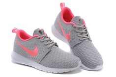 Womens Nike Flyknit Rosherun Gray Pink Shoes - Click Image to Close
