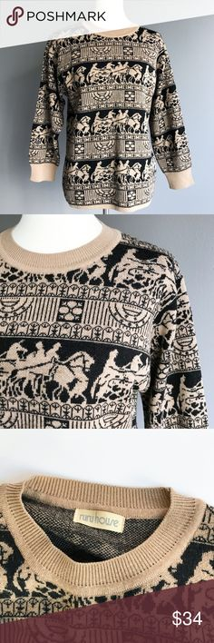 Vintage • chariot knit sweater Very regal knitted vintage sweater from the 90s, adorned with repeating pattern of people in a hose-drawn chariot. No size tag but could fit a medium - large. Only tags with material info is in Japanese so I'm unsure of what it's made of. The material is very acrylic/cotton feeling though. In beautiful condition!  Bust:  40 in. Waist:  37 in. Sleeve:  25½ in. Length:  26 in.  Care:  Wash warm. Lay flat to dry. Vintage Sweaters