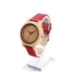 Bamboo Quartz Watch Genuine Red PU Leather Band