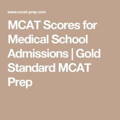 MCAT Scores for Medical School Admissions   Gold Standard MCAT Prep