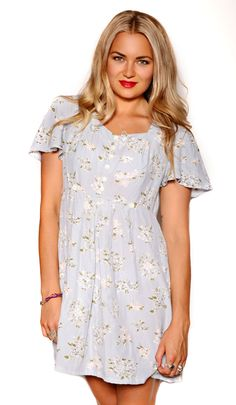 90's Floral Light Blue Dress $49