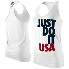 Nike Team USA London 2012 Womens Just Do It Racerback Tank Top White ($20) ❤ liked on Polyvore