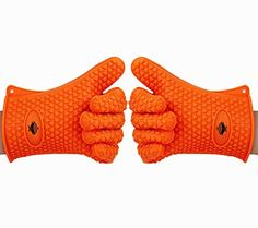 Heat Resistant Kitchen Cooking Gloves By BeSafe - Ideal For BBQ, Grilling & Oven Baking - Premium Quality FDA Approved Silicone Gloves - Waterproof & Stain Resistant - Indoor & Outdoor Use - Orange