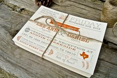 Wedding Invitation Rustic State Gray and Orange by WideEyesDesign, $2.00 Formato en fuentes