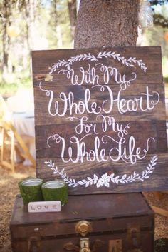 Rustic wedding ceremony signage