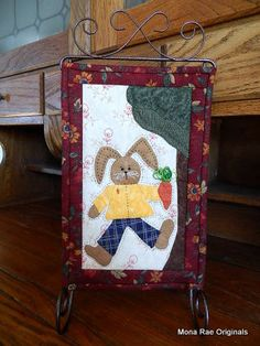 Easter Chocolate Bunny Quilt With Stand  Handmade by MROriginals, $45.00