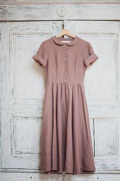 Purple Linen Dress Women Fashion Hand Made Dress by SondeflorShop