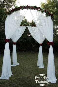 Love this white voile round chuppah for a Wedding Ceremony for the altar focal point