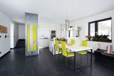 A black and white kitchen isn't for everyone, but it doesn't have to be an all or nothing color scheme either. Check out these роѕѕіbіlіtіеѕ and combinations. Black Floor, Floor Colors, My Dream Home, Color Schemes, Flooring, Black And White, Inspiration, Kitchen, Table