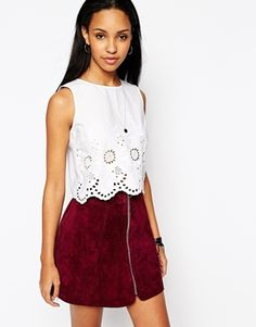 River Island Embroidered Crop Tank