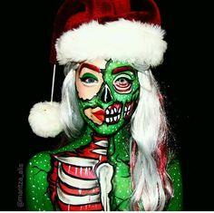 Jaida Shanae Source by Horror Makeup, Scary Makeup, Sfx Makeup, Christmas Makeup Look, Holiday Makeup, Winter Makeup, Cool Halloween Makeup, Halloween Makeup Looks, Zombie Pop Art
