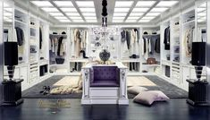 High end walk-in closet design for large room - classic italian furniture. Walk In Closet Design, Closet Designs, Dream Closets, Dream Rooms, Luxury Apartments, Luxury Homes, Luxury Italian Furniture, Beautiful Closets, Dressing Room Design