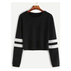 Black Varsity Striped Sleeve Crop T-shirt ($11) ❤ liked on Polyvore featuring tops, t-shirts, long-sleeve crop tops, crop top, sleeve top, crop t shirt and sleeve tee