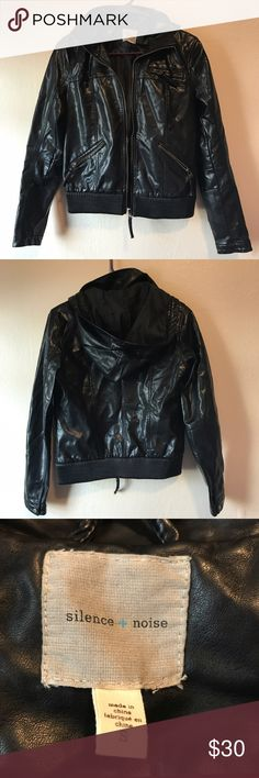 Urban Outfitters Hooded Faux Leather Jacket UO Silence and Noise black faux leather zip up jacket with hood. In excellent used condition- no rips or stains. From a smoke free, pet friendly home. Please feel free to ask questions or make an offer! Urban Outfitters Jackets & Coats