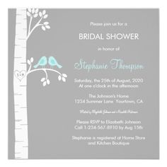 Birch Trees  Love Birds Bridal Shower Custom Invitation.  $1.80