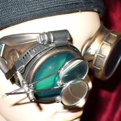 Steampunk Victorian Goggles Glasses gold green magnifying lens by OldJunkyardBoutique, http://www.amazon.com/dp/B0073YHIMO/ref=cm_sw_r_pi_dp_nNDCrb1Y9AW16