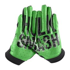 Under Armour Youth Alter Ego Hulk Football Receiver Gloves - Hulk Smash gloves! Fsu Baseball, Youth Baseball Gloves, Baseball Helmet, Football Cheer, Baseball Uniforms, Football Is Life, Youth Football, Football Gloves, Football Helmets