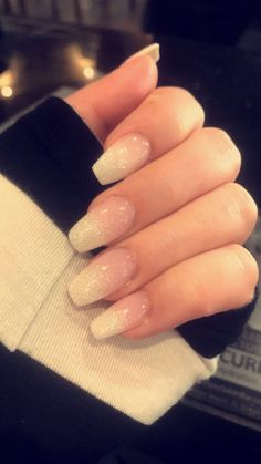 Nexgen Ombré Pink Powder And White Layered W Glitter For The Tips