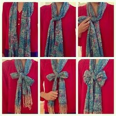 Tying a scarf into a bow