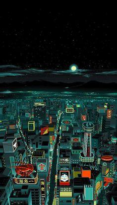 Kogaionon Pixel art rendition of Tokyo's skyline from Power Slave, a visual novel/eroge game released by Umitsuki Seisakusho (Jellyfish) in Japan for the in 1995 Pixel Art, Arte 8 Bits, 8bit Art, Tokyo Night, Wow Art, Album Design, Aesthetic Wallpapers, Concept Art, Digital Art