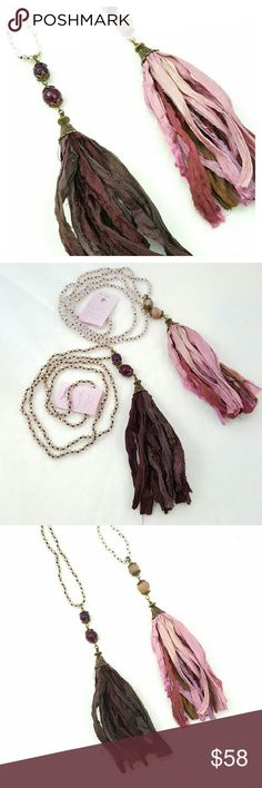 Shabby Chic Silk Tassel Necklace, 2 Colors Stunning Bohemian tassel necklace handcrafted from Sari Silk and Czech Crystal's on knotted sild cording.  ♥Tassels are handmade from recycled silk saris  ♥100% genuine Czech crystal beads ♥Strong silk beading cord ♥Brass plated metals ♥2 color choices, Garnet and Rose ♥Handmade in Texas Carol Su Jewelry Necklaces