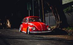 Lataa kuva Volkswagen Beetle, 4k, tuning, low rider, punainen Kuoriainen, VW, Volkswagen