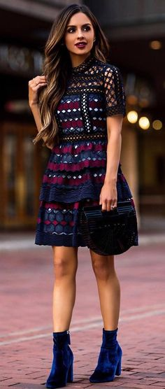 beautiful spring outfit idea dress + bag + velvet boots