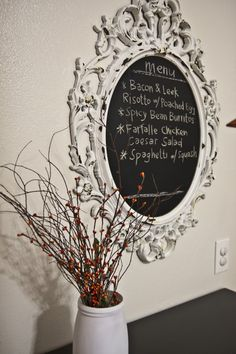 Distressed Chalkboard Menu-More on Distressing with Petroleum Jelly. I know i pin this look all the time, truthfully, I love it.