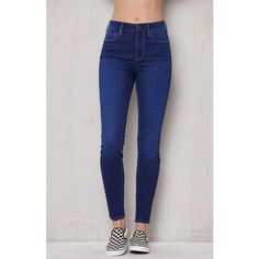 Pacsun Dallas Blue Super High Rise Skinny Jeans ($50) ❤ liked on Polyvore featuring jeans, pants, high-waisted skinny jeans, stretchy skinny jeans, long skinny jeans, slim fit jeans and high waisted jeans