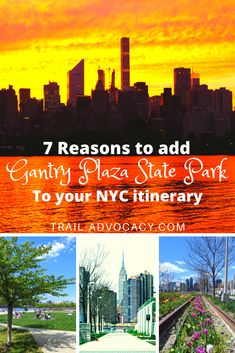 Gantry Plaza State Park in Hunters Point, Long Island City, Queens is an oasis with gorgeous NYC skyline views. You have tons of space to picnic, workout, play, or just relax amongst the flowers and curated bushes. Plus there's great food and drink in the area! Don't miss out on this must-see in NYC. #nyc #travel #usa #unitedstates #newyorkcity #newyork Nyc Itinerary, Nyc Skyline, Long Island City, Just Relax, Hunters, Travel Usa, State Parks, Oasis, Queens