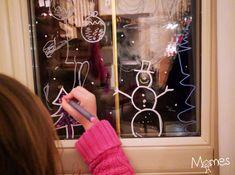 dessin de noel sur vitre