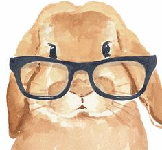 Rabbit Watercolor Print Bunny Rabbit Hipster by WaterInMyPaint